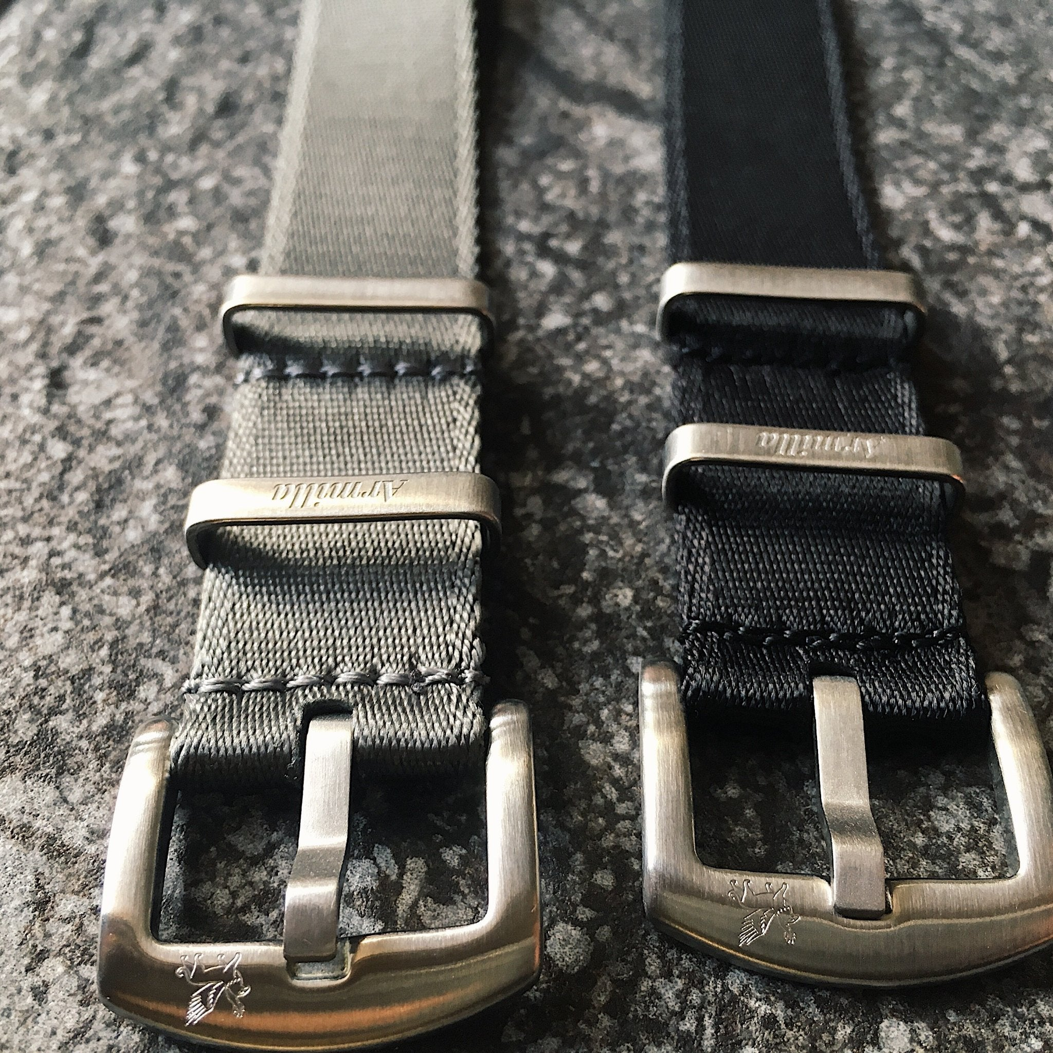 Slim Black and Grey Armilla NATO Watch Straps / Bands