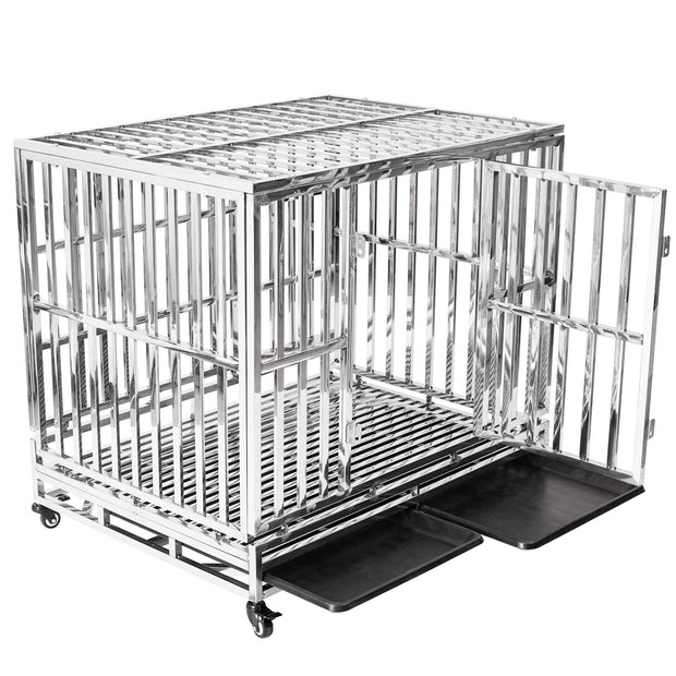HAIGE PET Your Pet Nanny Heavy Duty Dog Cage Kennel Crate Playpen Metal Strong Stainless Steel for Medium and Large Dogs Outdoor Waterproof with Lockable Wheels, Easy to Assemble, 42''