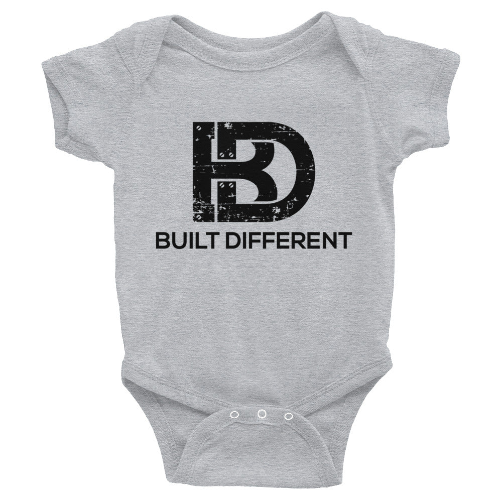 Built Different Baby Bodysuit Grey