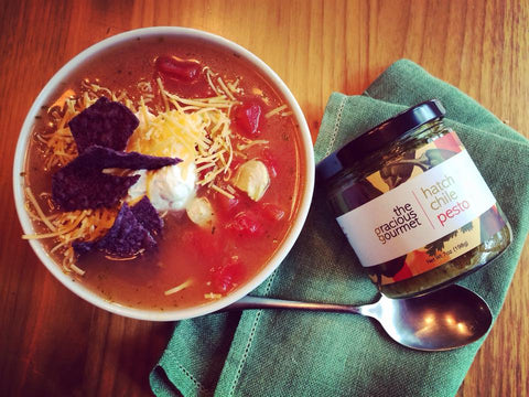 chicken tortilla soup with hatch chile pesto
