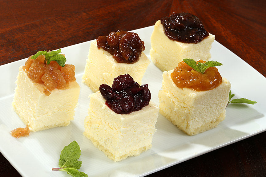 Desserts topped with fruit spreads