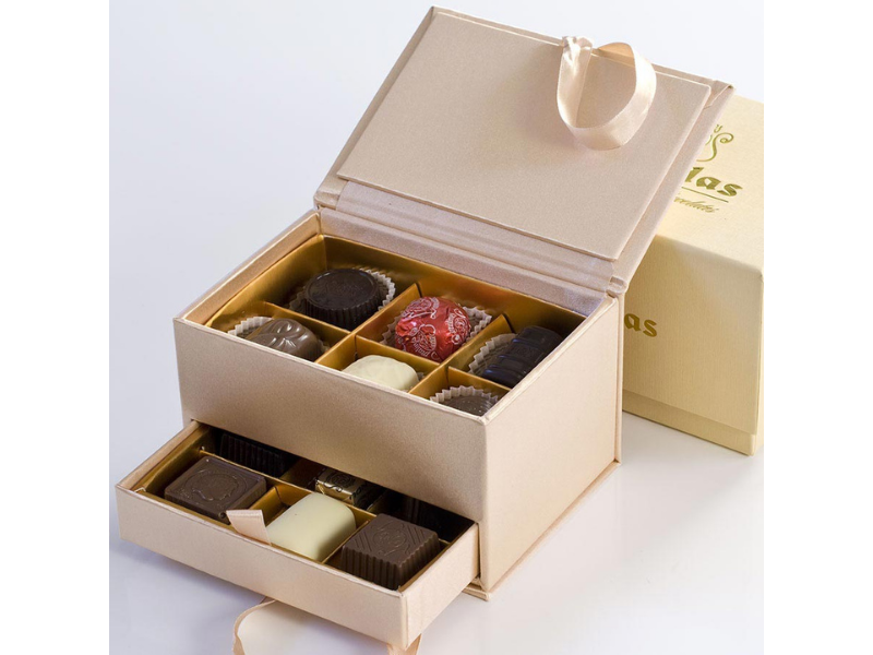 Chocolate Truffles - Mixed -Beige Jewelry Box - Belgium