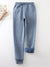 Blue Cotton Casual Elastic Solid Casual Warm Pants