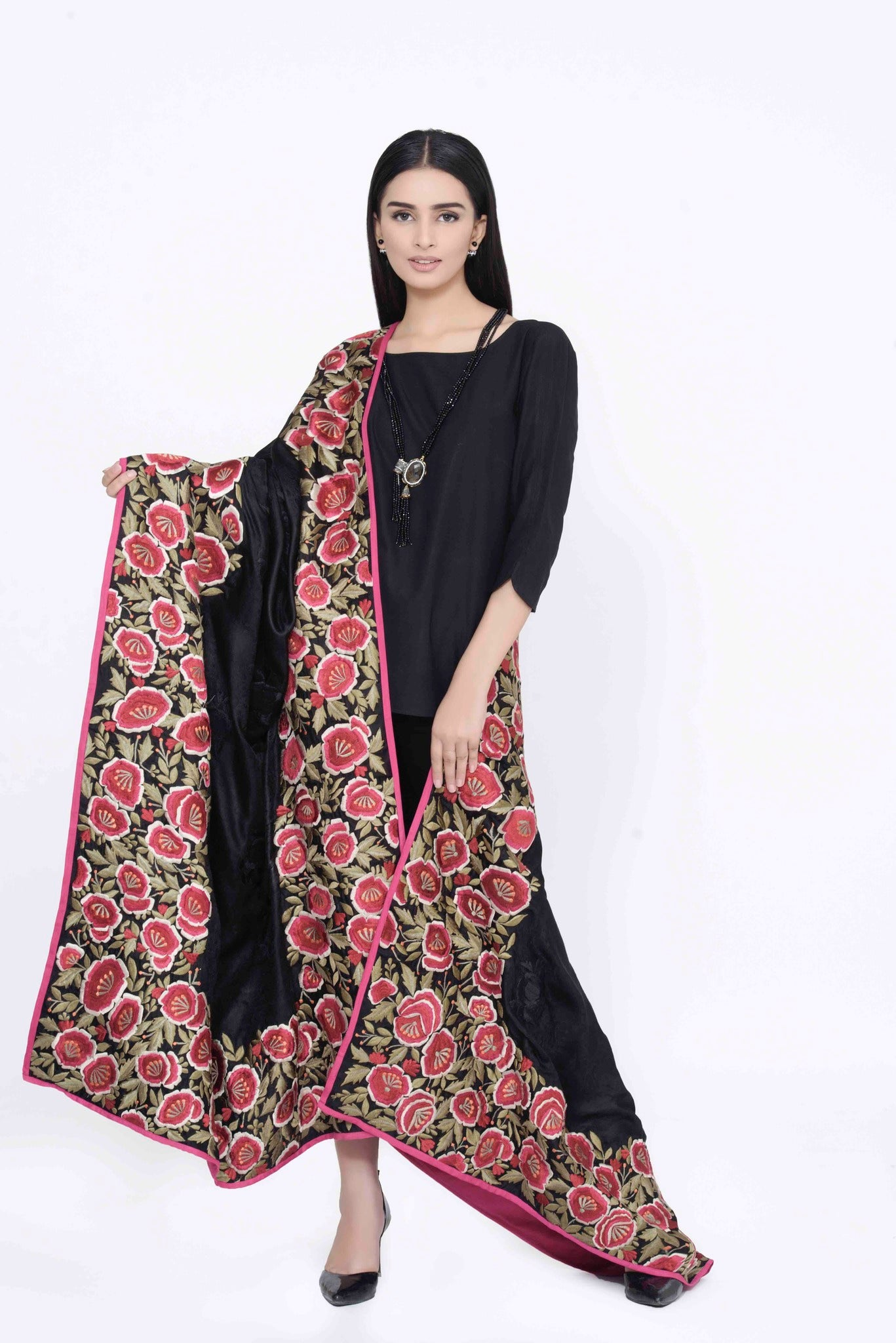 Black Shawl with Floral Border