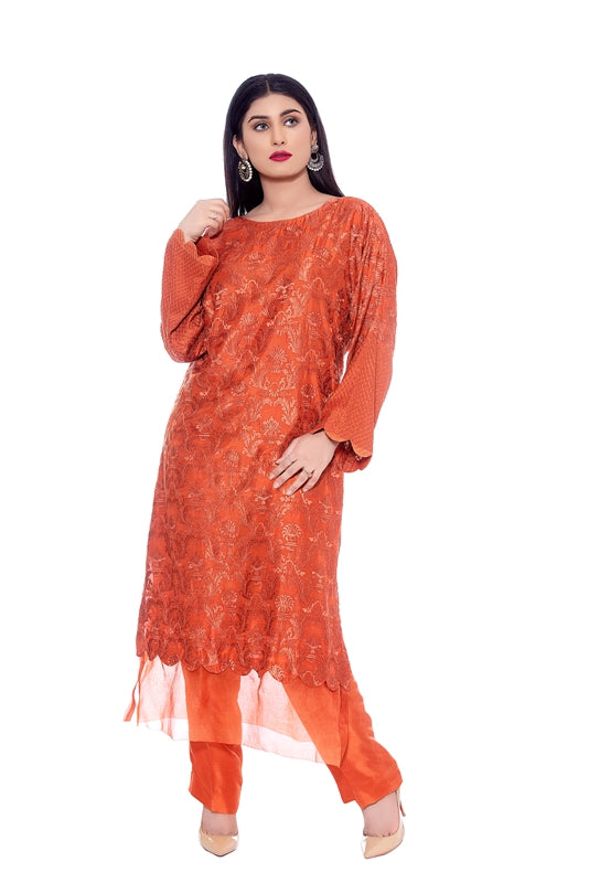 Fully Embroidered Silk Long Shirt with Organza Border, Fully Embroidered Silk Pants 2020