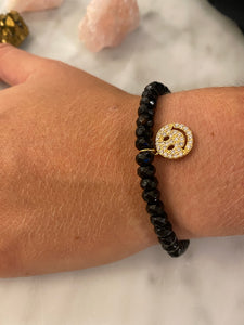 HAPPY FACE BLACK AGATE BRACELET