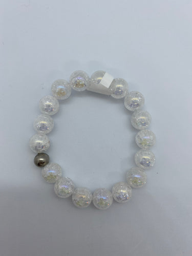 Big Bead Clear Crackle Quartz Bracelet