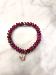 RUBY CRAZY LACE AGATE HEART BRACELET