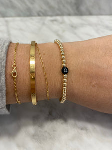 BLACK Gold Filled Evil Eye Bracelet