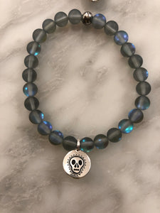 "The ""BLACK MYSTIC AURA QUARTZ SKULL"" BRACELET"