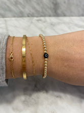 Load image into Gallery viewer, BLACK Gold Filled Evil Eye Bracelet