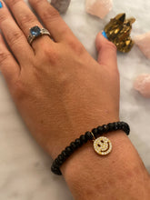 Load image into Gallery viewer, HAPPY FACE BLACK AGATE BRACELET