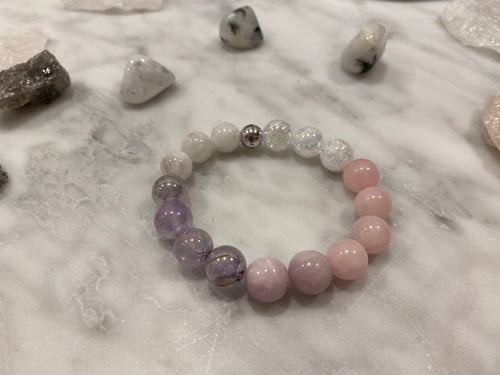 Big Bead Kunzite, Rose Quartz, Moonstone, Amethyst & Crackle Quartz