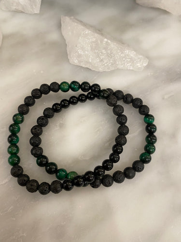 Men's Green Tigers Eye, Onyx & Lava
