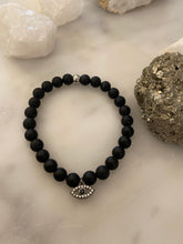 Load image into Gallery viewer, Matte Black Onyx Evil Eye Bracelet