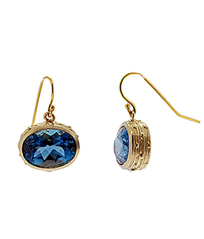 10K Gold Royal Blue Topaz Earrings