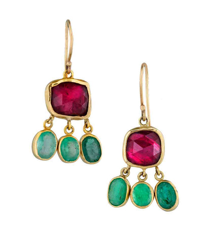 18K Gold Emerald Rubellite Earrings