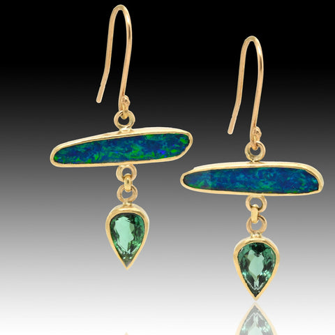 Boulder opal and tourmaline gold earrings