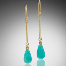 Load image into Gallery viewer, Amazonite Gold Drop Earrings