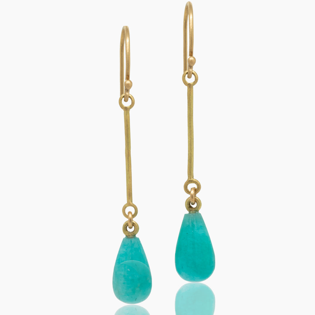 Amazonite Gold Drop Earrings