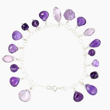Load image into Gallery viewer, Amethyst Sterling Silver Charm Bracelet