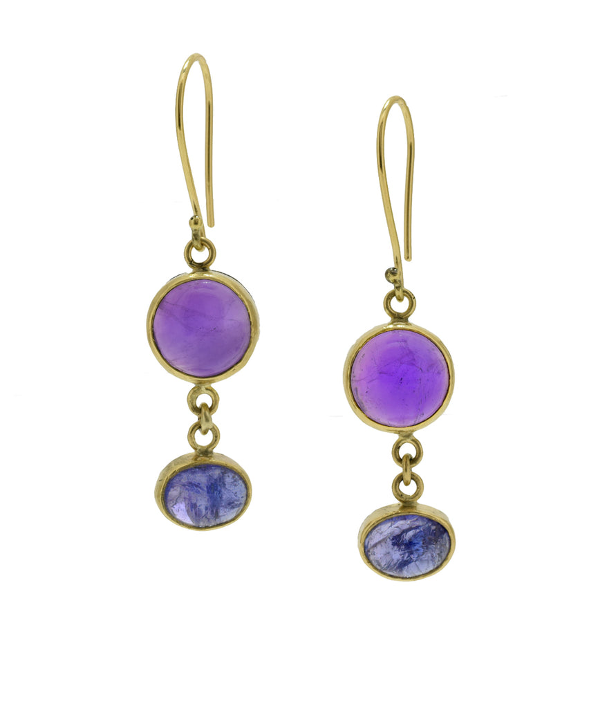 Amethyst and Tanzanite Drop Earrings