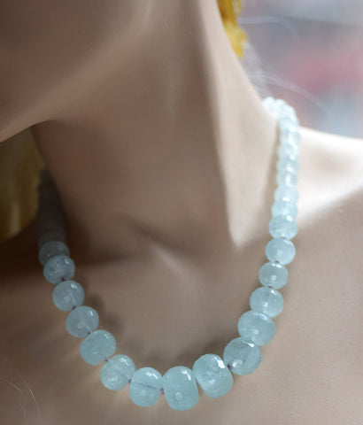 Aquamarine Silk Knotted Necklace