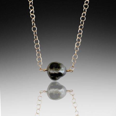 Tahitian Black Pearl Gold Necklace