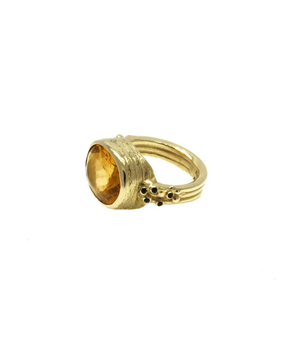 Gold Citrine Cocktail Ring