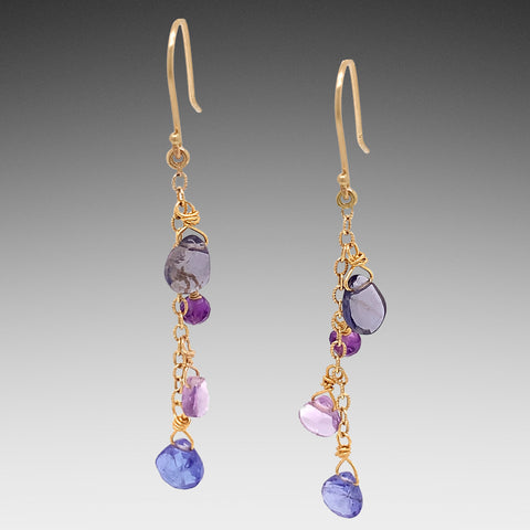 Cascading Gold Gem Earrings