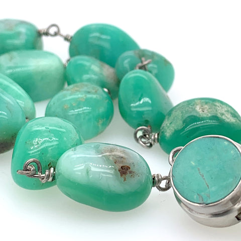 Chrysoprase Nugget Sterling Necklace
