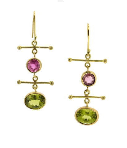 Peridot and Pink Tourmaline Cross Bar Earrings