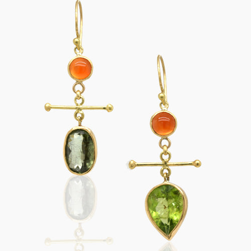 Mix and Match Peridot & Carnelian Drop Earrings
