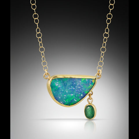 Boulder Opal Emerald Gold Necklace