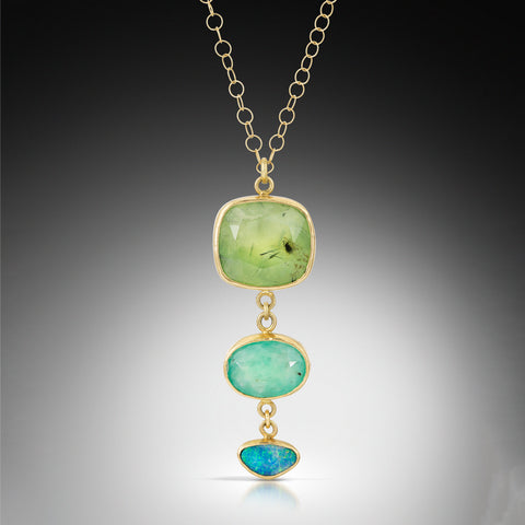 Prehnite, Aquaprase and Opal Tiered Necklace
