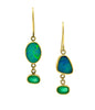 Opal Emerald Asymmetric Gold Earrings