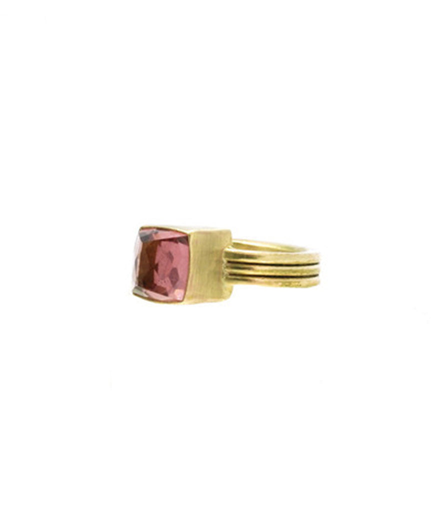 Pink Tourmaline 10K Gold Triple Band Ring