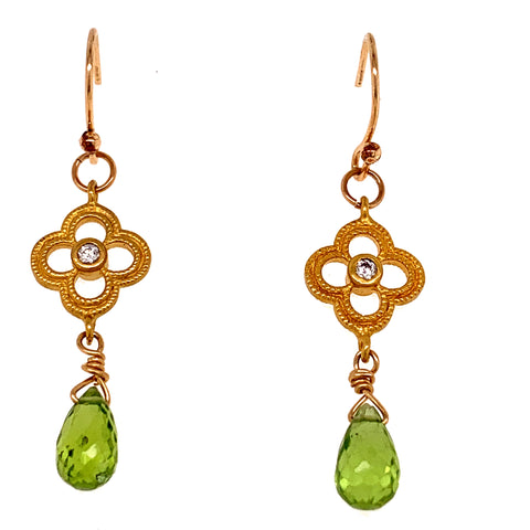 Peridot with Quartefoil Earrings