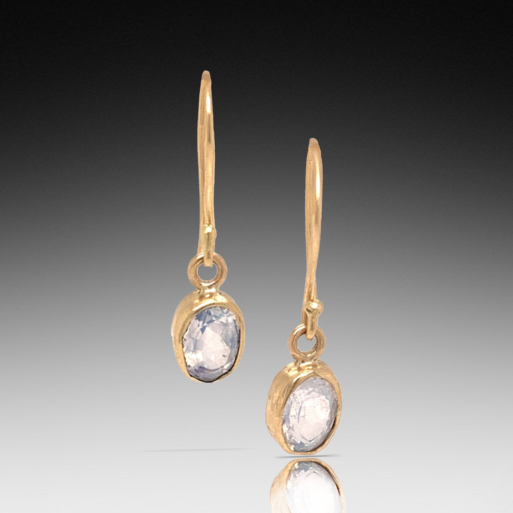 Rainbow Moonstone Gold Earrings