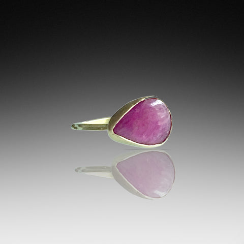 Smooth Cabochon Gold Ruby Ring