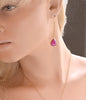 Ruby Cabochon Drop Earrings