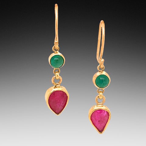 Ruby and Emerald Drop Earrings