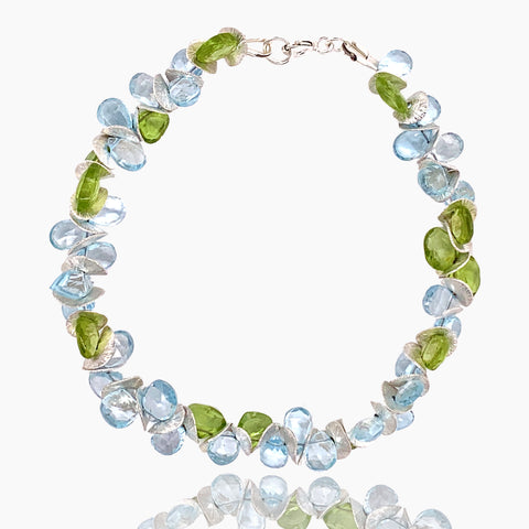 Signature Blue Topaz with Peridot Sterling Bracelet