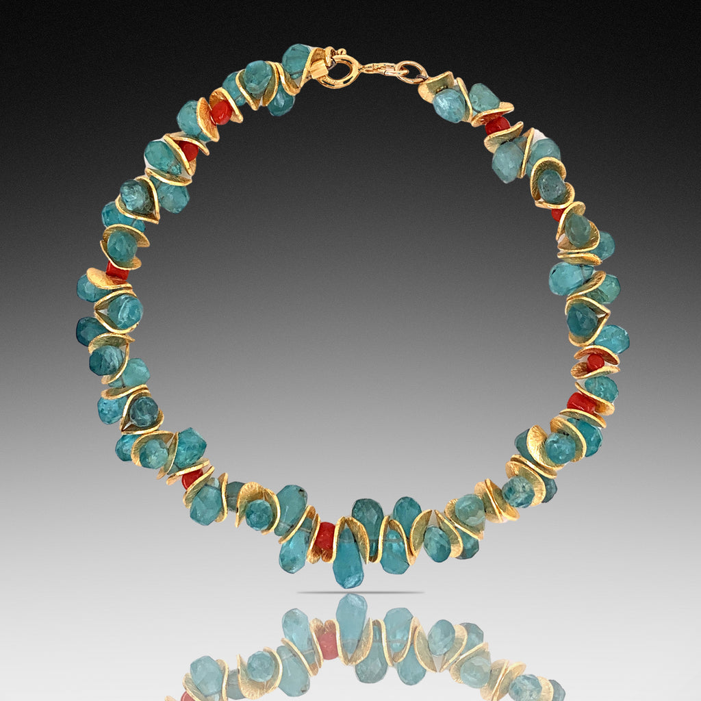 Aqua Apatite and Coral Gold Signature Bracelet
