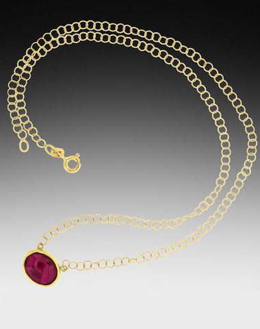 Smooth Pink Tourmaline Gold Choker