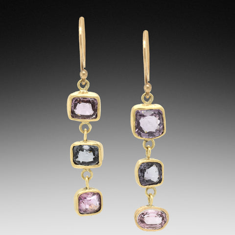 Purple Grey Pink Spinel Gold Earrings