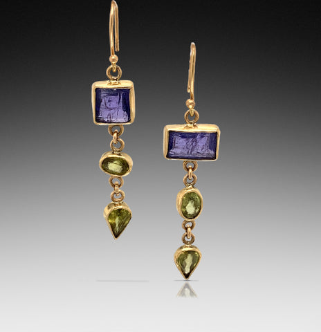 Tanzanite & Sphene Gold Earrings