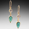 Teal Tourmaline with Labradorite Gold Earrings