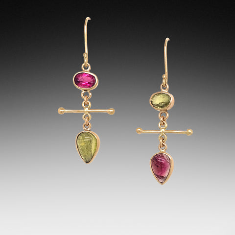 Tourmaline Mix Match Gold Earrings