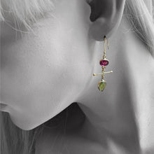 Load image into Gallery viewer, Tourmaline Mix Match Gold Earrings